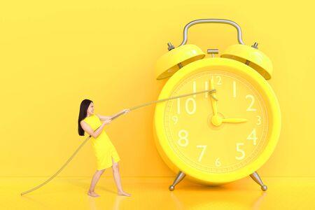 Junge Frauen, die das Seil ziehen, das an den gelben Hintergrund der Uhr gebunden ist. minimales und zeitliches Ideenkonzept.