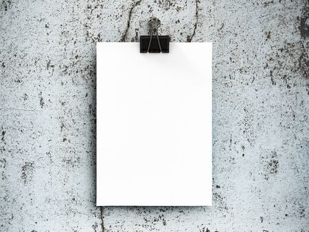 Poster mockup on old concrete wall background. 3D Render.