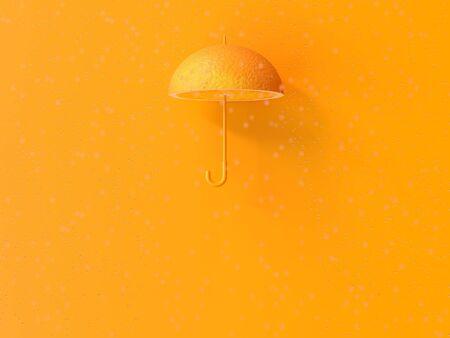 Orange umbrella shape and rain. Vitamin C protect common cold idea concept, 3D Render. Stock fotó