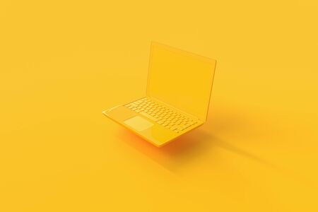 Laptop background with blank screen yellow color mock-up for your text, minimal idea concept 3d render. Archivio Fotografico - 126103474