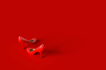High-heeled shoes red color. copy space for your text and red background. minimal idea concept, 3D Render. Archivio Fotografico - 126103508