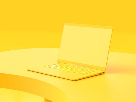 Yellow laptop  mock-up on Work desk with yellow background. minimal idea concept, 3d render. Archivio Fotografico - 126103605