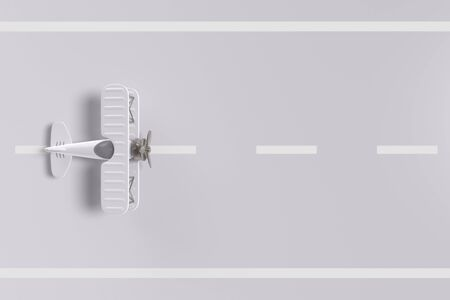 plane on the runway. top view and white background. minimal idea concept, 3D Render. Stok Fotoğraf