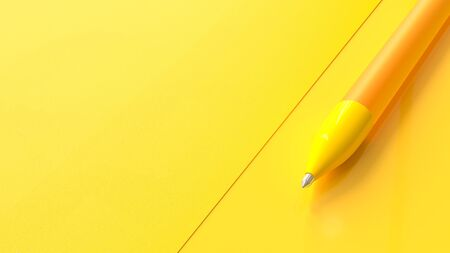 Yellow pen on paper yellow background and copy space for your text. Minimal idea concept, 3D Render. Stok Fotoğraf