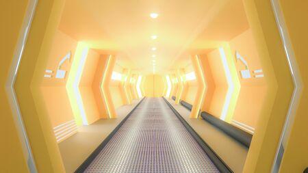 Yellow spaceship sci-fi corridor, 3D render.