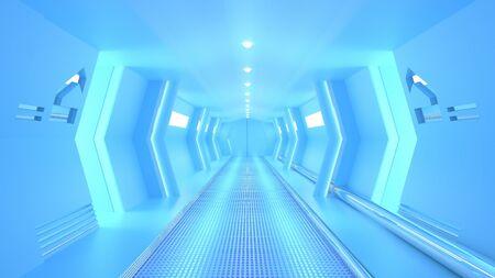 Blue spaceship sci-fi corridor.  minimal idea concept, 3D render. Stok Fotoğraf