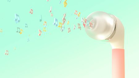 Musical notes bursts from pink earphone on pastel color background. Music idea concept,3D Render.