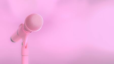 Pink microphone music background and copy space for your text. minimal and song love idea concept, 3D Render.