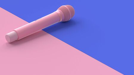 Pink microphone music background. minimal idea concept,3D Render.