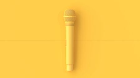 Yellow Microphone music background. minimal idea concept,3D Render. Stok Fotoğraf - 131980222