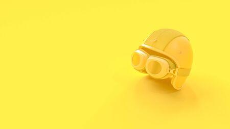 Minimal idea concept. Helmet yellow color for biker background, 3D Render. Stok Fotoğraf