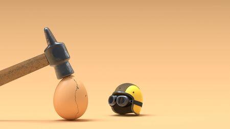 Broken eggs because they do not wear helmets. 3D Render