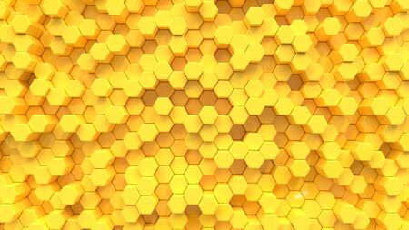 Yellow hexagon texture background. 3D Render.