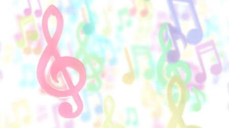 Pink musical notes on blurred musical notes pastel color background. 3D Render. Stok Fotoğraf