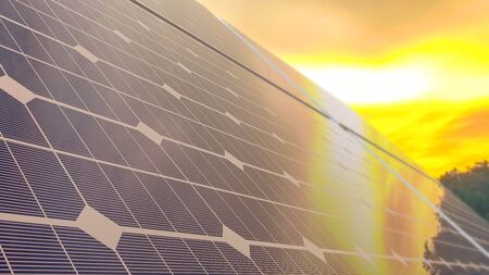 Solar panel on the day that the sky was like a flame and selective focus. Energy background concept, 3D render.