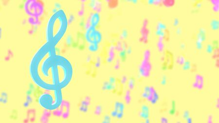 Blue musical notes on blurred musical notes pastel color background. 3D Render. Stok Fotoğraf