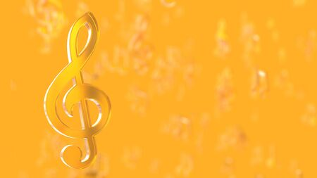 Yellow musical notes on yellow background. Music idea concept, 3D Render.