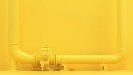 Yellow pipeline, minimal and energy background concept. 3D Render.