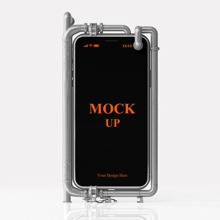 Cell phone mock-up on white background with clipping path. Liquid Cooling System idea concept, 3D Render.