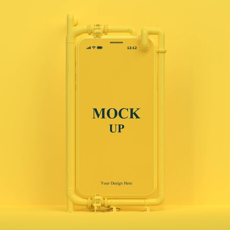 Yellow cell phone mock-up on yellow background with clipping path. Liquid Cooling System and minimal idea concept, 3D Render.