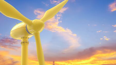 Wind turbines Energy Production yellow color on pastel sky background. 3D render. Stok Fotoğraf