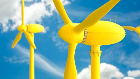 Yellow wind turbines energy production on blue sky background, 3D Render. Stok Fotoğraf