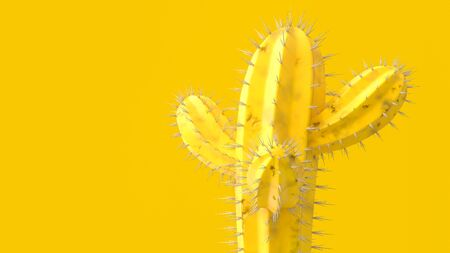 Yellow minimal idea concept. Cactus yellow color for background, 3d render. Stok Fotoğraf