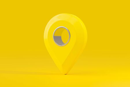 Pin map yellow color with clipping path. GPS and Navigator idea concept, 3D Render.