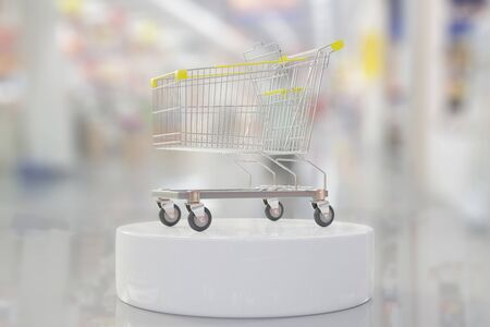 Shopping cart on Department store blurred background. Shopping idea concept, 3D Render.