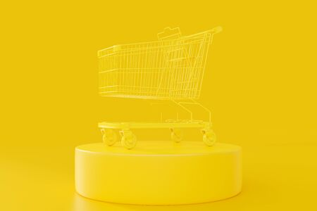 Yellow shopping cart with clipping path on a yellow background. Minimal idea concept, 3D Render. Reklamní fotografie