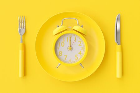 Yellow clock on the yellow plate with fork and spoon, minimal idea concept. 3D Render.