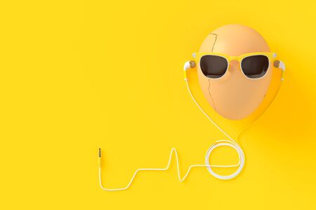 Egg wearing sunglasses with earphone on yellow background and copy space for your text, 3d render.