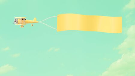 Airplane model yellow pastel color with empty banner mock-up for your text on cloud and sky background, vintage style 3D render.
