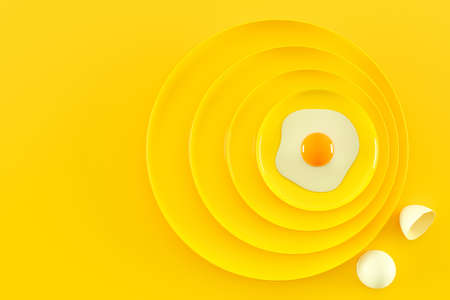 Fried eggs on many plates stacked together. Food and health idea concept, 3D Render. Banco de Imagens