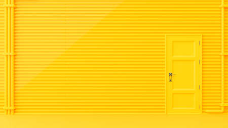 Yellow door on the wall is wavy with pipes for the background. Minimal idea concept, 3D Render.