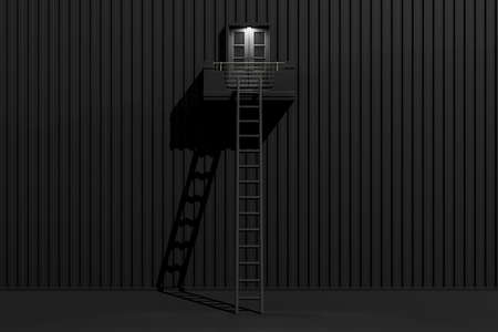 The staircase that leads up to the window which lights up in the middle of the night. Minimal idea concept, 3D Render.