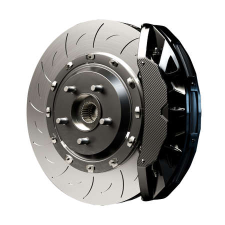 Brake Disc for car. Isolated on white background . 3D Render.