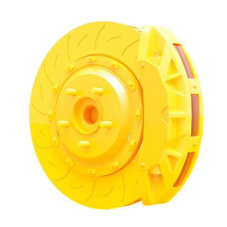 Yellow Brake Disc for car. Isolated on white background  . 3D Render.
