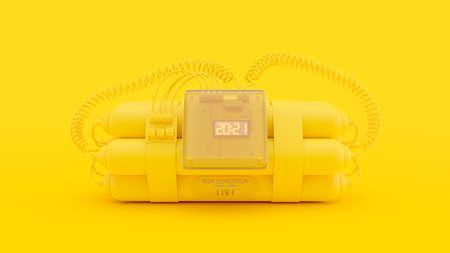 Yellow Bombs with digital clock timer 2021  .  Minimal idea concept, 3D Render. 免版税图像