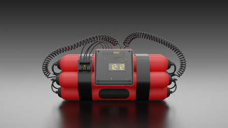 Bombs Red color with digital clock number 12.12  and mock-up for your text, 3d render. 免版税图像