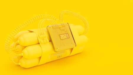 Yellow Bombs with digital clock timer 2021.  copy space for your text. Minimal idea concept, 3D Render. 免版税图像