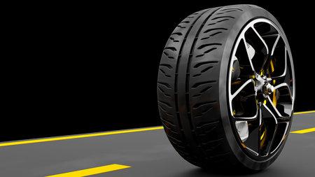 Alloy wheel with modern Brake Disc and Calliper carbon fiber on road. 3D render.