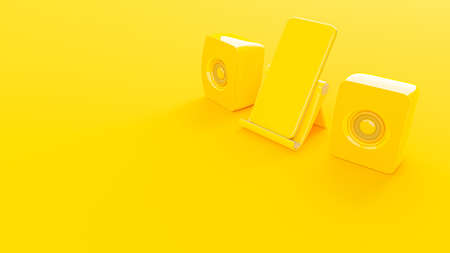 Yelllow smartphone and yellow speaker on Phone stand. Mock-Up for your text. Minimal idea concept, 3d render.