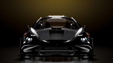 sports car black color on dark night background. background. 3D Render.