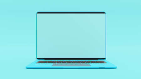 Laptop blue color blank screen on work dask table.  Mock-Up for your text. Blue minimal and Computer background idea concept. 3D Render. 免版税图像