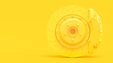 Yellow Brake Disc for car. Clipping path and copy space for your text. Minimal idea concept, 3D Render.