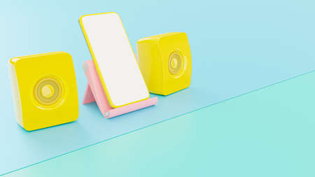Yelllow smartphone and yellow speaker on Pink phone stand. Mock-Up for your text, 3d render. 免版税图像