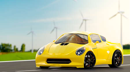 Yellow car run on country road. With wind turbine and green field and clear skies. Energy and Environment idea concept, 3D Render.
