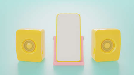 Yelllow speaker and yellow smartphone on Pink phone stand. Mock-Up for your text, 3d render. 免版税图像