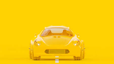 Yellow sports car with Clipping path on yellow background. Minimal idea concept, 3D Render.